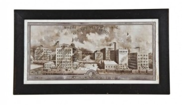 """late 19th century framed architectural rendering of the washburn-crosby """"gold medal flour"""" milling complex– designed by e.r. guilbert"""