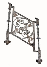 19th century winslow brothers ornamental cast iron minneapolis public library staircase baluster with flanking spindles– long and kees, architects