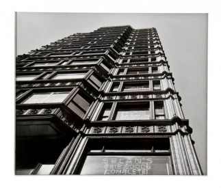 untitled 8 x 10 signed richard nickel gelatin silver print depicting the facade of the extant reliance building with neon sign in forefront– richard nickel, photographer