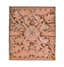elegantly designed late 19th century ywca building exterior glazed terra cotta entrance surround frieze panel with salmon-colored finish – northwestern terra cotta company, chicago, il.