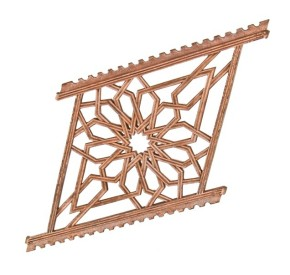 19th century copper-plated ornamental cast iron rookery building baluster panel featuring moorish tracery	– burnham & root, architects