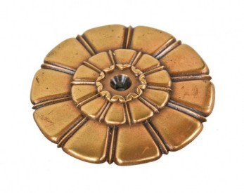 highly stylized c. 1920's ornamental cast bronze flush mount petaled floral rosette or medallion salvaged from the cook county criminal courthouse building – hall, lawrence & ratcliffe, architects