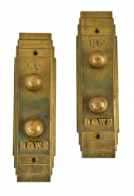 """c. 1933-34 matching set of chicago world's fair """"sky ride"""" attraction cast bronze elevator up/down cab """"call"""" push button plaques– otis elevator company, new york city, ny."""