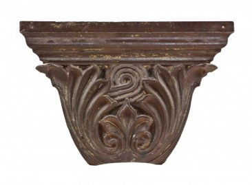 """mid-1870's ornamental cast iron new york city """"soho district"""" cast iron building facade pilaster capital fragment with curvaceous leaves – helca ironworks, new york city, ny"""