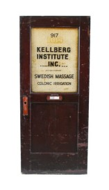 "late 19th century mahogany wood reliance building interior office door with intact ""florentine"" pattern glass inset	– kellberg institute for hygiene, massage and medical gymnastics"