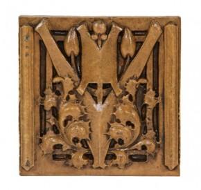 "exceptionally well-designed c. 1930's american ""sullivanesque"" style slip glaze george grant elmslie-designed terra cotta panel– midland terra cotta co., chicago, il."