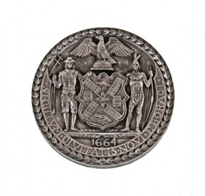 very rare c. 1930′s wpa-era ornamental cast iron west side elevated highway surface mount emblematic rondel or plaque – robert moses, architect