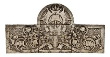 """museum-quality early 20th century ornamental """"sullivanesque"""" white slip glaze terra cotta cartouche – midland terra cotta co., chicago, il."""