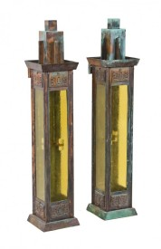 matching pair of remarkable museum quality george grant elmslie-designed oversized exterior ornamental bronze art glass sconces with age appropriate patina – attributed to winslow brothers, chicago, il.